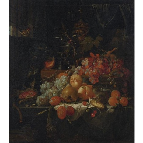 still life with grapes fruit corn and a bird by abraham mignon