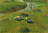 scenery with pied avocets by vilhelm theodor fischer