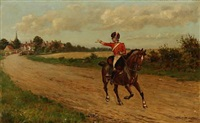 a soldier on horseback leaving his love by thomas mackay