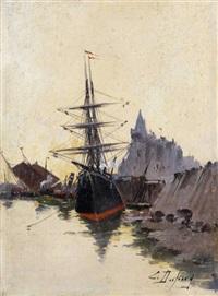 voilier au port by eugène galien-laloue