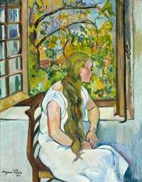 germaine utter devant sa fenêtre by suzanne valadon