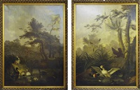 two works: 1) waterbirds in a wooded landscape by jan augustini