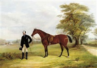 a gentleman with a saddled bay hunter in a parkland by f. c. freeman