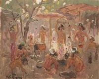 danseurs et danseuses devant un temple / scène de marché (2 works) by adrien jean le mayeur de merprés