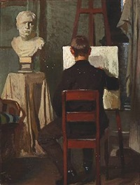 a painter in his studio, presumably the artist himself by frants peter didrik henningsen