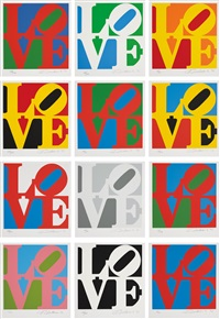 book of love (set of 12) by robert indiana