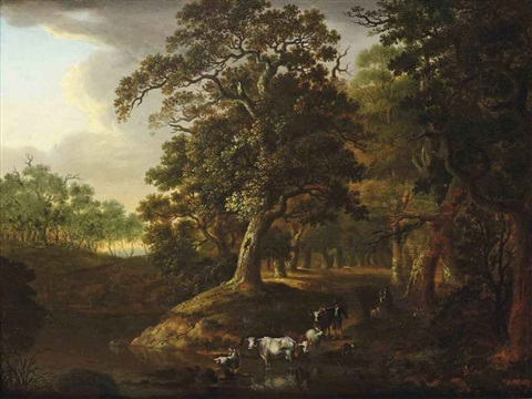 a wooded landscape with a herdsman watering his cattle near a stream by salomon rombouts
