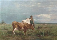 tending to the livestock by albertus gerardus bilders
