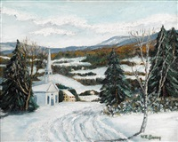 snowy road above sellersville by walter emerson baum
