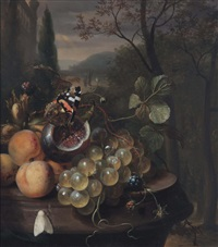apricots, grapes, a fig with a butterfly, blackberries and a white moth on a marble ledge in an italianate landscape by jan mortel