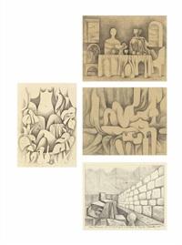 a.) sketch for ausencia del poeta by mario carreño