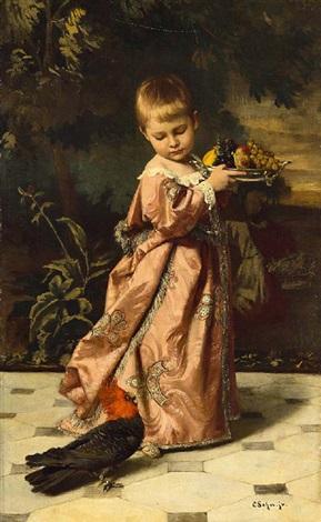 fürstliches kind mit einer früchteschale und einem paradiesvogel by carl rudolph sohn