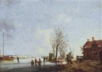 ice skaters in a winter landscape by a. de groote