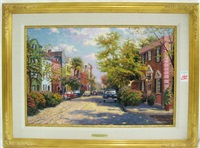 rainbow row, charleston by thomas kinkade