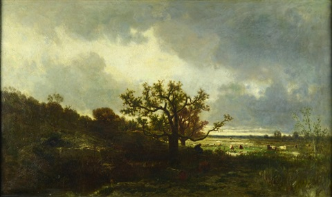 landscape with an oak by jules dupré