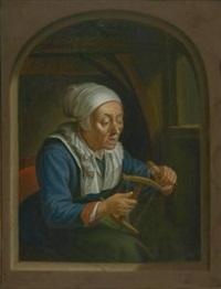 alte frau mit garnspule by johann jakob dorner the elder