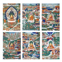 painted banner of sakyamuni buddha (6 works) by anonymous-chinese (qing dynasty)