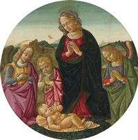 the madonna and infant saint john the baptist adoring the christ child with two angels, the annunciation to the shepherds beyond by bartolomeo di giovanni