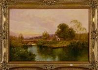 paysage animé à la rivière by jose maria jardines