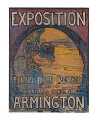 ponts sur la seine. exposition peinture dessin eau-forte par frank m. et caroline armington (preparatory study for poster) by frank milton armington