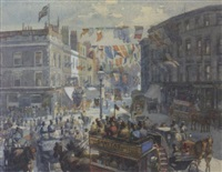 kensington high street on queen victoria's diamond jubilee, 1897 by william harding smith