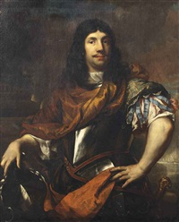 portrait of cornelis tromp (1629-1691), three-quarter-length, in a breastplate, his right hand resting on his coat-of-arms by jan de baen