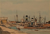 boats in the harbour at cadiz by claude muncaster
