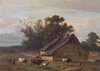 een herderin met koeien by hendrik van de sande bakhuyzen