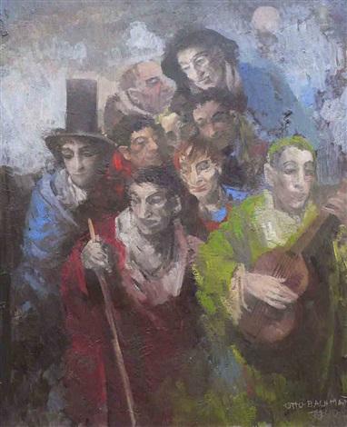 gitarrenspieler mit schaulustiger männergruppe by otto bachmann
