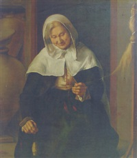 an old lady carding wool in an interior by louis le nain