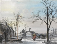 winter landscape with skaters by cornelis troost