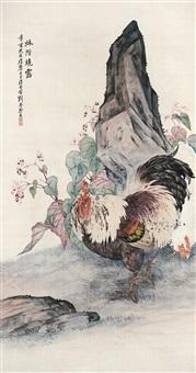 秋阶晓露 立轴 设色绢本 by liu kuiling