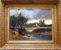 poules et canards près d'une mare sur fond de paysage by eugène cottin