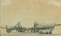 nef d'un bateau avec son équipage by pierre ozanne