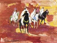 quatre cavaliers sur fond rouge by hassan el glaoui