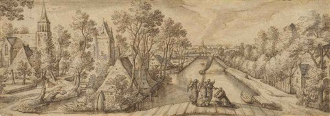 view of delfgauw with abraham and the three angels by hans bol