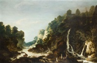 chevreuils dans un paysage de torrent et de rivière by philips de momper the elder