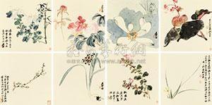 花卉册 (the flower) (album w/8 works) by zhang daqian