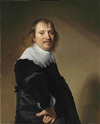 portrait of a gentleman in a black costume with a white collar and cuffs by johannes cornelisz verspronck