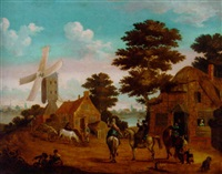 falconers at an inn, a windmill by a river beyond by johann georg stuhr