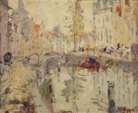 a busy day along a canal in bruges by adrien jean le mayeur de merprés