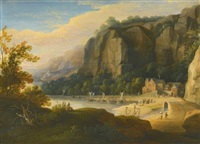 a rocky cove with fisherfolk on the shore, an artist sketching in the foreground by jacques d' arthois