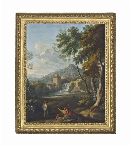 an italianate river landscape with classical figures conversing a waterfall beyond by jan frans van bloemen