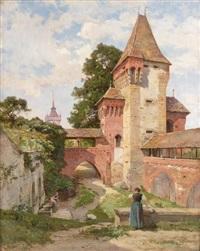 les lavandières, château de chenaux, environ de neuchâtel, suisse by emile isembart