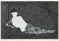 nude in black-rose lace 1 by matazo kayama