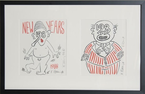 new years invitation 88 2 works by keith haring