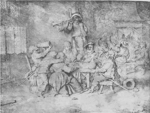 a company of soldiers carousing in an inn by willem guilliam de heer