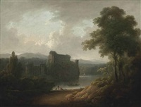 a wooded landscape with a ruined moated castle, figures ferrying across the water and others resting on the bank by john rathbone