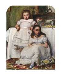 portrait of two girls, dressed in white by francis montague (frank) holl