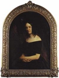portrait de jeune femme en robe noire by eugène quesnet